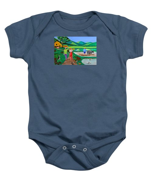 One Beautiful Morning In The Farm Baby Onesie by Cyril Maza