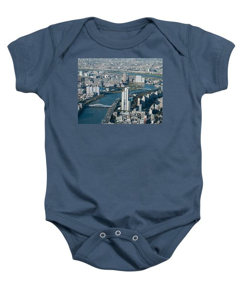Panorama Of Tokyo Baby Onesie by Jill Mitchell