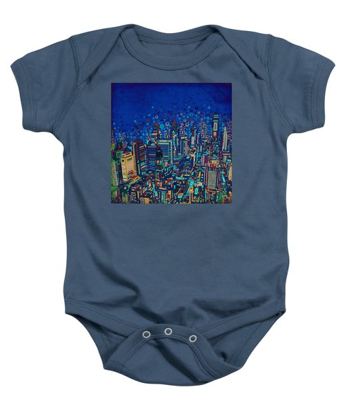 Philadelphia Panorama Pop Art 2 Baby Onesie by Bekim Art