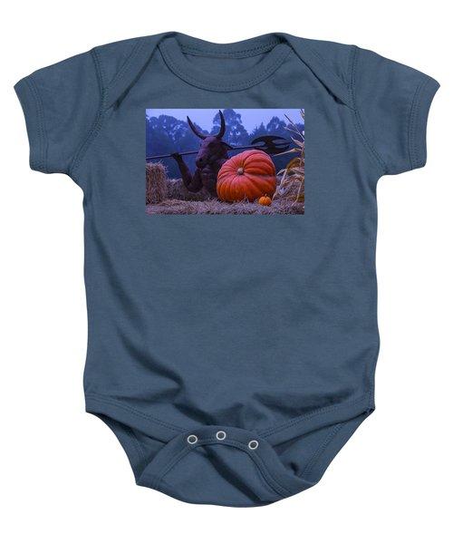 Pumpkin And Minotaur Baby Onesie by Garry Gay