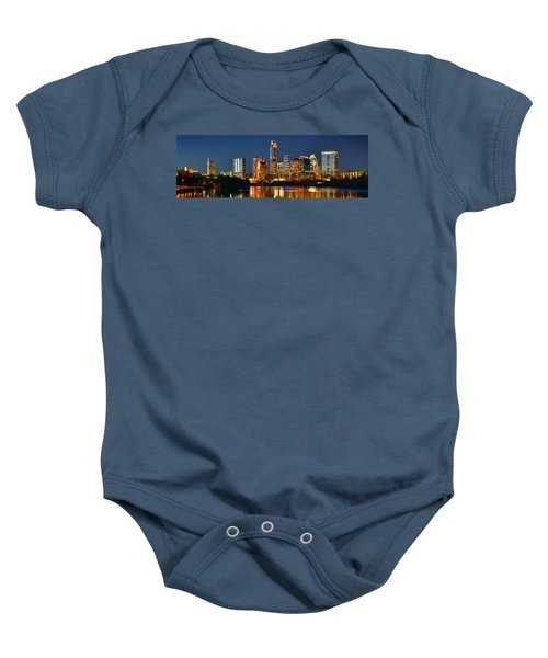 Austin Skyline At Night Color Panorama Texas Baby Onesie by Jon Holiday