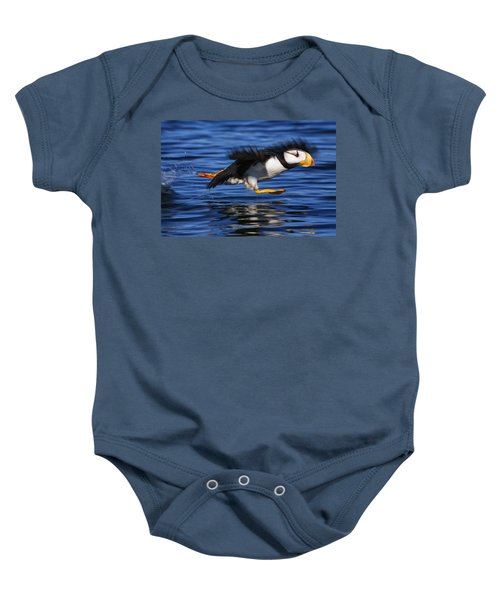 Horned Puffin  Fratercula Corniculata Baby Onesie by Marion Owen