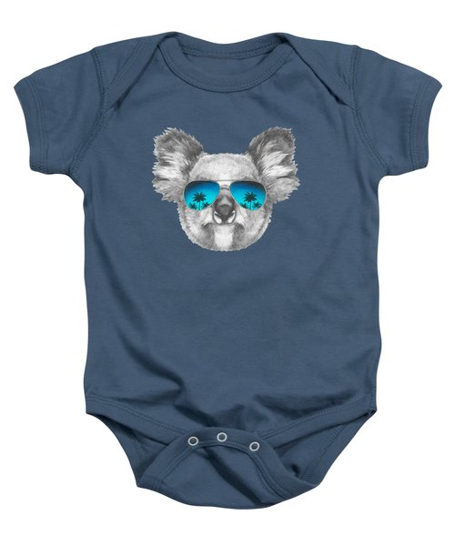 Koala With Mirror Sunglasses Baby Onesie by Marco Sousa