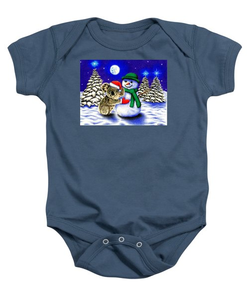 Koala With Snowman Baby Onesie by Remrov