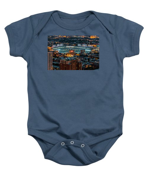 Wrigley Field From Park Place Towers Dsc4678 Baby Onesie by Raymond Kunst