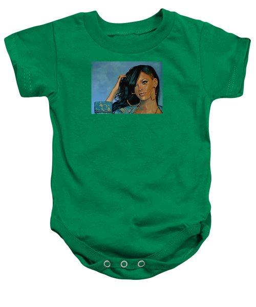 Rihanna Painting Baby Onesie by Paul Meijering