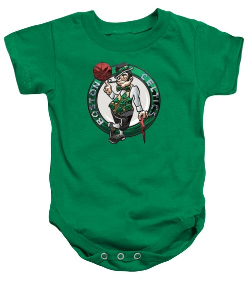 Boston Celtics - 3 D Badge Over Flag Baby Onesie by Serge Averbukh