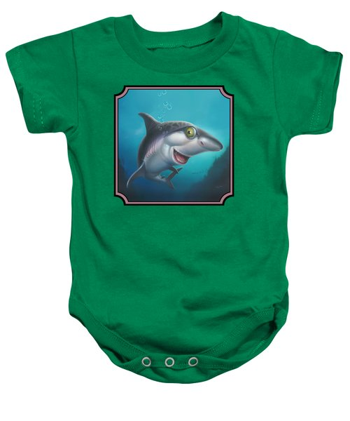Friendly Shark Cartoony Cartoon - Under Sea - Square Format Baby Onesie by Walt Curlee