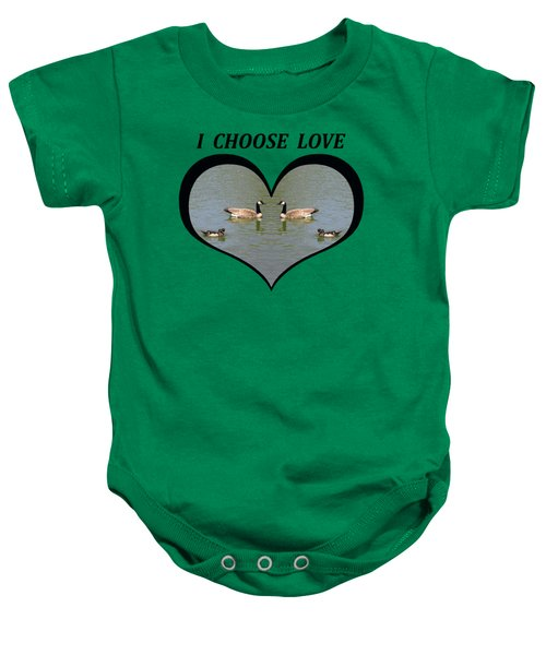 I Chose Love With A Spoonbill Duck And Geese On A Pond In A Heart Baby Onesie by Julia L Wright