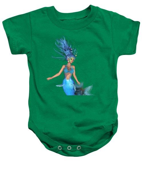 Mermaid Ruby Blue Baby Onesie by Diane Leenknegt