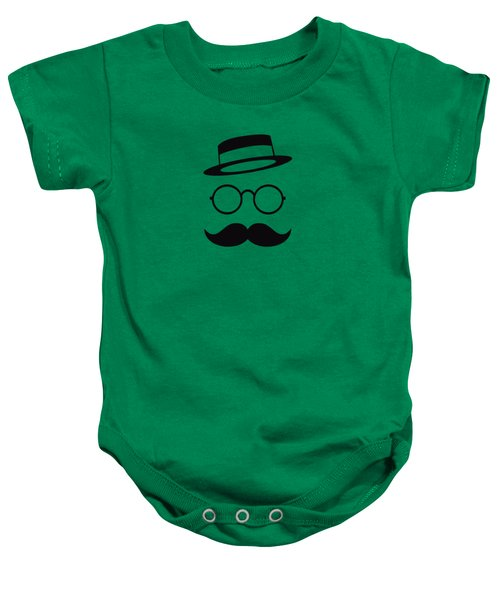 Retro Minimal Vintage Face With Moustache And Glasses Baby Onesie by Philipp Rietz