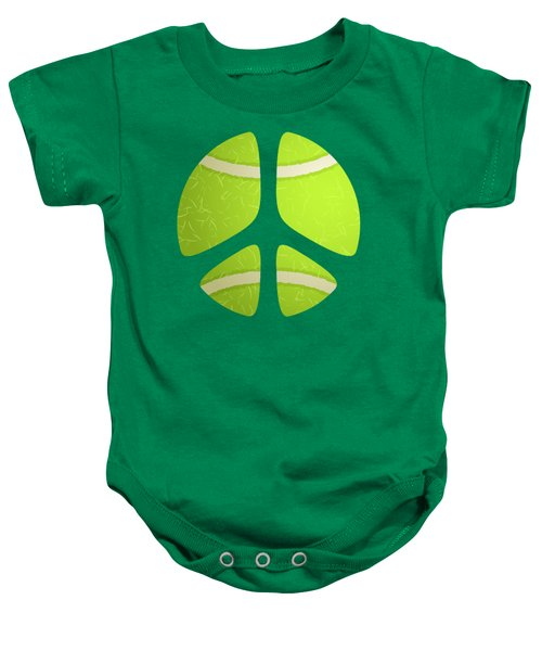 Tennis Ball Peace Sign Baby Onesie by David G Paul