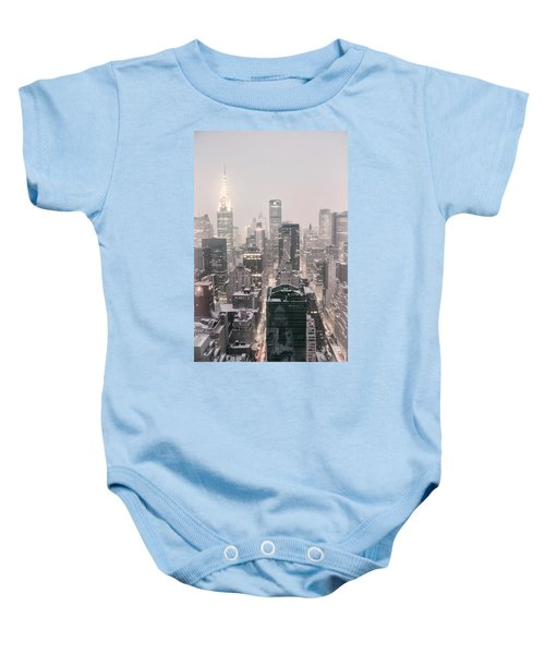 New York City - Snow Covered Skyline Baby Onesie by Vivienne Gucwa
