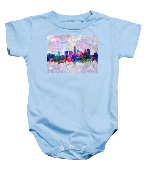 Austin Texas Skyline Watercolor 2 Baby Onesie by Bekim Art
