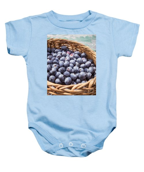 Basket Of Fresh Picked Blueberries Baby Onesie by Edward Fielding
