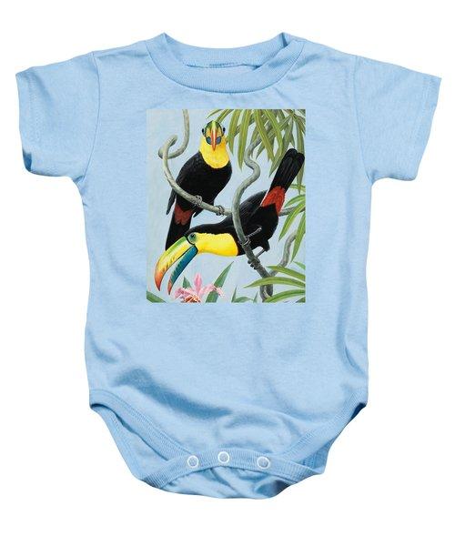 Big-beaked Birds Baby Onesie by RB Davis