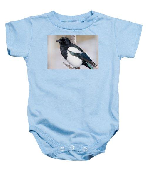 Black-billed Magpie Baby Onesie by Eric Glaser