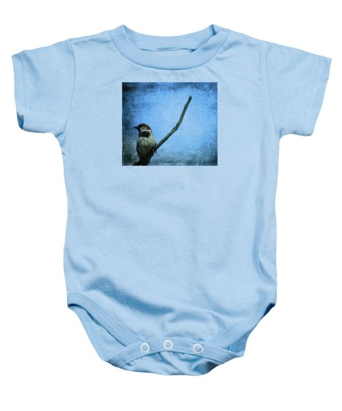 Sparrow On Blue Baby Onesie by Dan Sproul