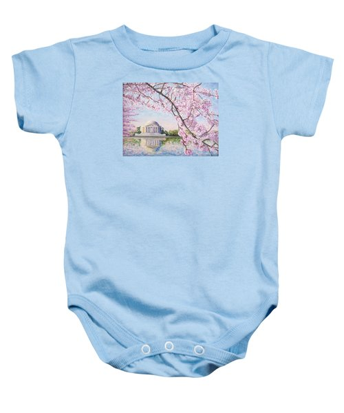 Jefferson Memorial Cherry Blossoms Baby Onesie by Patty Kay Hall