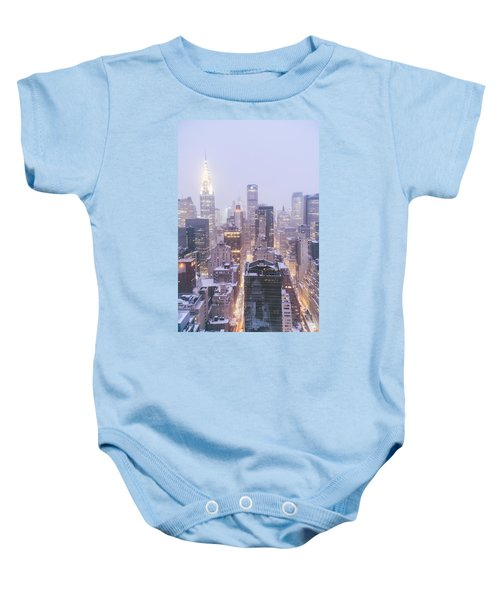 Chrysler Building And Skyscrapers Covered In Snow - New York City Baby Onesie by Vivienne Gucwa