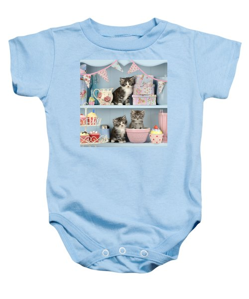 Baking Shelf Kittens Baby Onesie by Greg Cuddiford