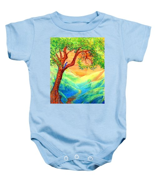 Dreaming Of Bluebells Baby Onesie by Jane Small