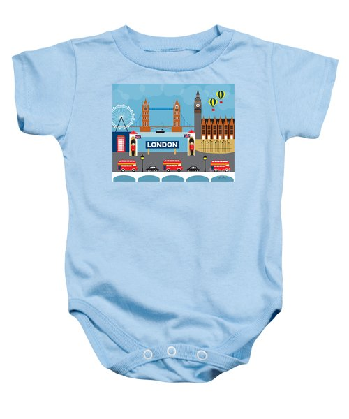 London England Skyline By Loose Petals Baby Onesie by Karen Young