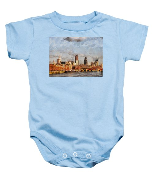 London Skyline From The River  Baby Onesie by Pixel Chimp