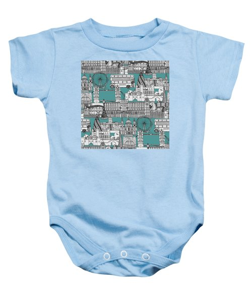 London Toile Blue Baby Onesie by Sharon Turner