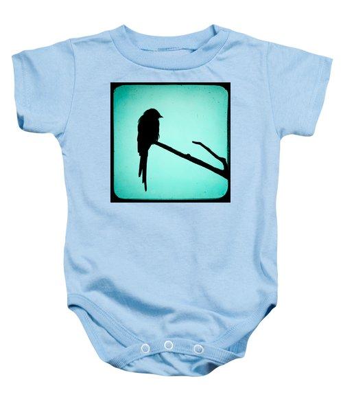 Magpie Shrike Silhouette Baby Onesie by Gary Heller