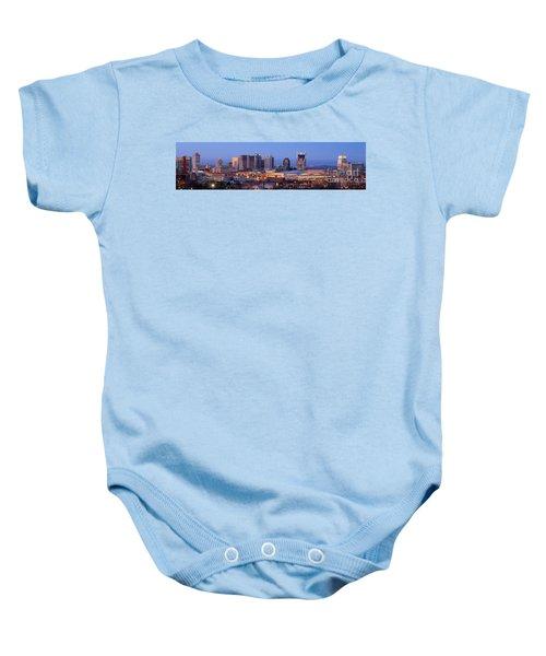 Nashville Skyline At Dusk Panorama Color Baby Onesie by Jon Holiday