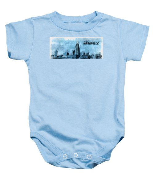 Nashville Tennessee In Blue Baby Onesie by Dan Sproul