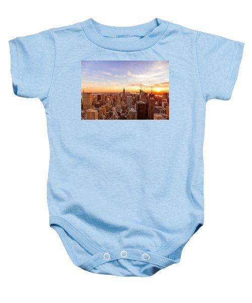 New York City - Sunset Skyline Baby Onesie by Vivienne Gucwa