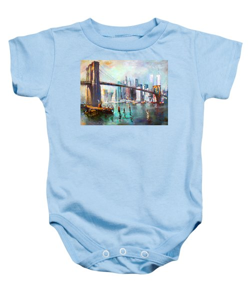Ny City Brooklyn Bridge II Baby Onesie by Ylli Haruni