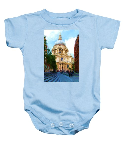 On The Steps Of Saint Pauls Baby Onesie by Jenny Armitage