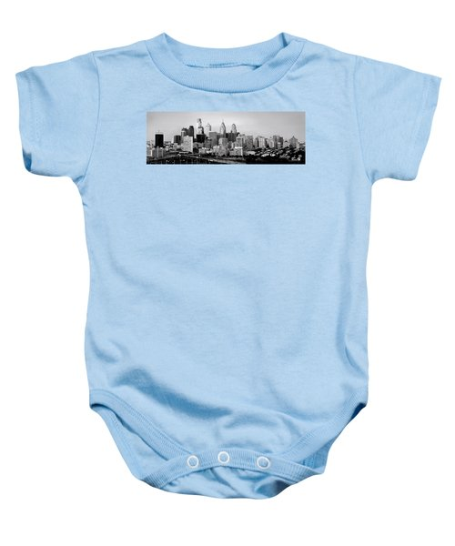Philadelphia Skyline Black And White Bw Pano Baby Onesie by Jon Holiday