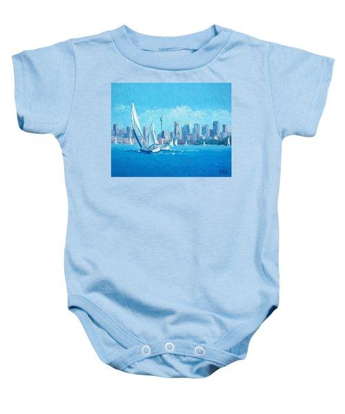 The Regatta Sydney Habour By Jan Matson Baby Onesie by Jan Matson