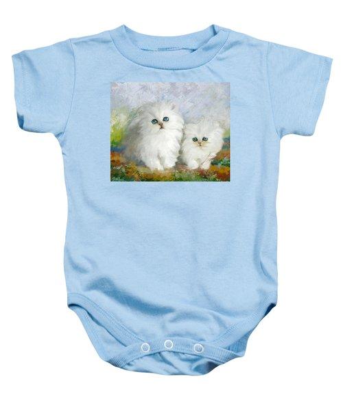 White Persian Kittens  Baby Onesie by Catf