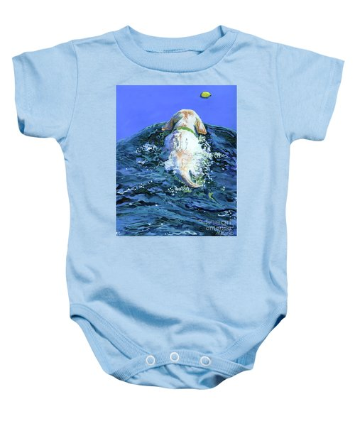 Yellow Lab  Blue Wake Baby Onesie by Molly Poole