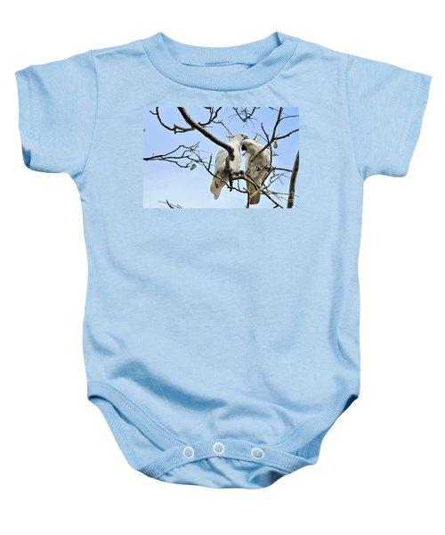 Sulphur Crested Cockatoos Baby Onesie by Kaye Menner