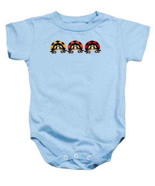 3 Bugs In A Row Baby Onesie by Sarah Greenwell