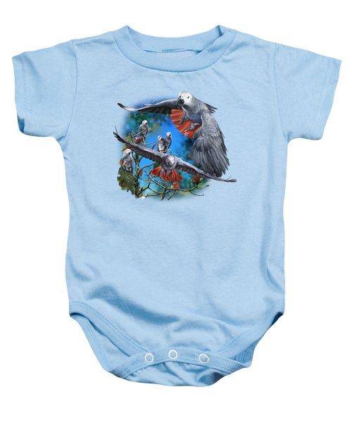 African Grey Parrots Baby Onesie by Owen Bell