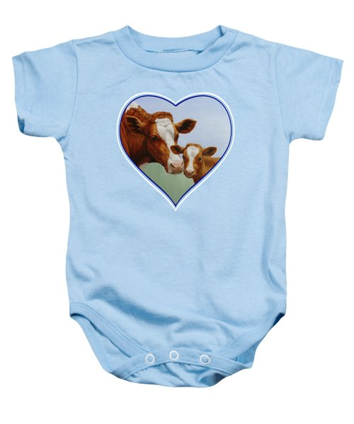 Cow And Calf Blue Heart Baby Onesie by Crista Forest