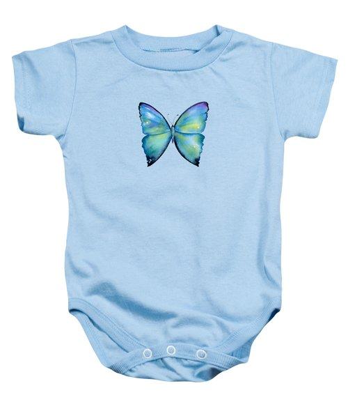 2 Morpho Aega Butterfly Baby Onesie by Amy Kirkpatrick