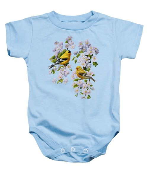 American Goldfinch Spring Baby Onesie by Crista Forest