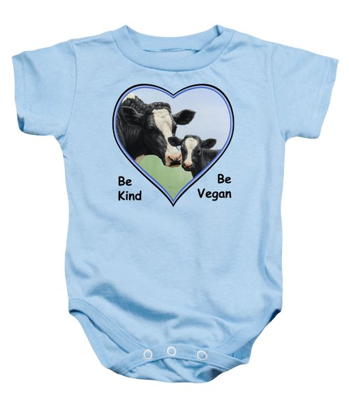 Holstein Cow And Calf Blue Heart Vegan Baby Onesie by Crista Forest