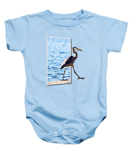 Blue Heron Strutting Out Of Frame Baby Onesie by Roger Wedegis