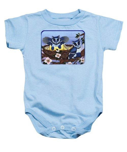 Blue Jay Kittens Baby Onesie by Carrie Hawks