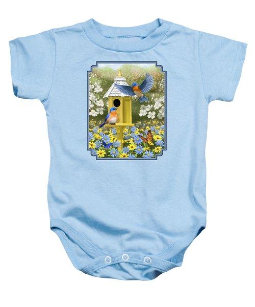 Bluebird Garden Home Baby Onesie by Crista Forest