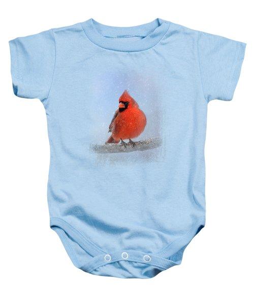 Cardinal In The Snow Baby Onesie by Jai Johnson